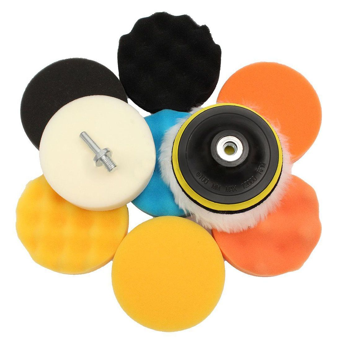 3 Inch For Car Buffing Pad Kit Polishing Wheel Sponge Pad Drill Adapter 11pcs Rapid Heat Dissipation Abrasive Tools