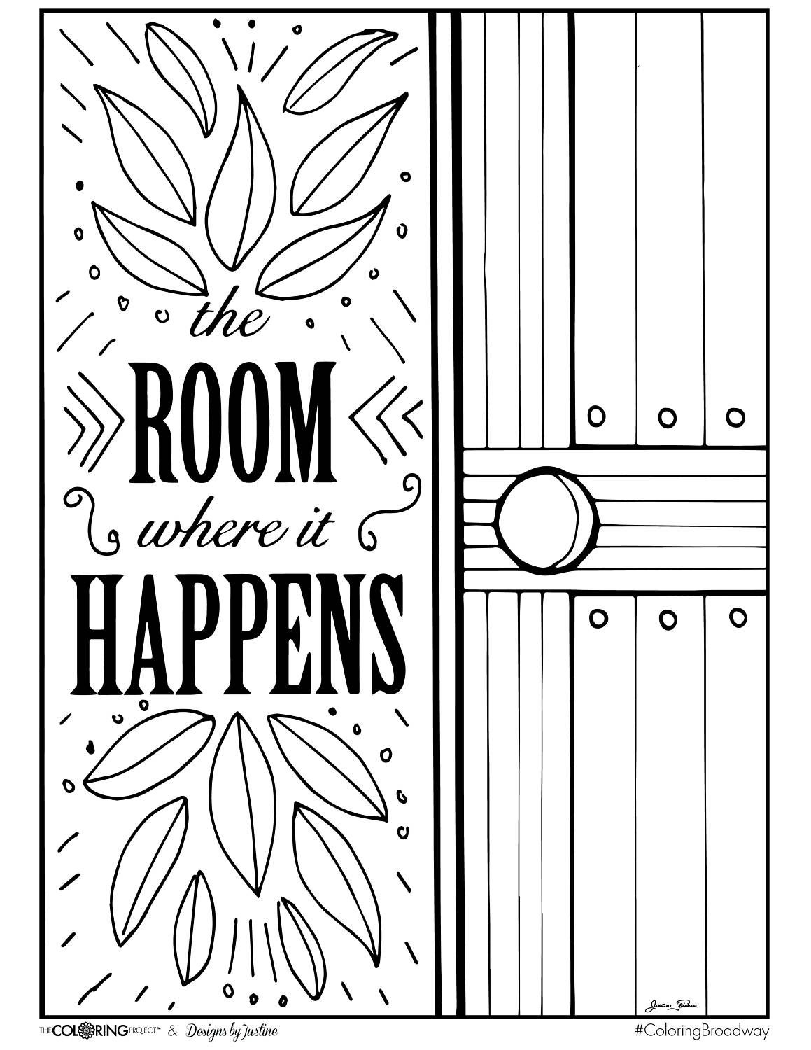 Coloring Broadway HAMILTON The Room Where It Happens