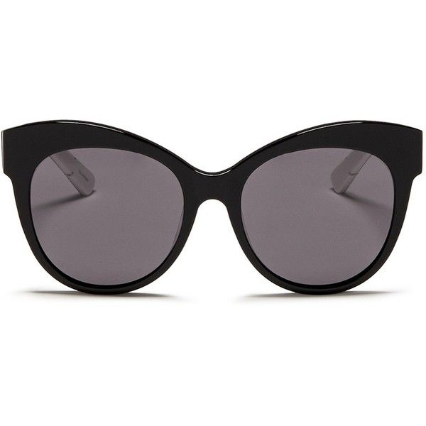 Blanc & Eclare 'Paris' polka dot print temple acetate sunglasses (€230) ❤ liked on Polyvore featuring accessories, eyewear, sunglasses, black, black sunglasses, cateye sunglasses, polka dot glasses, black cateye glasses and acetate glasses