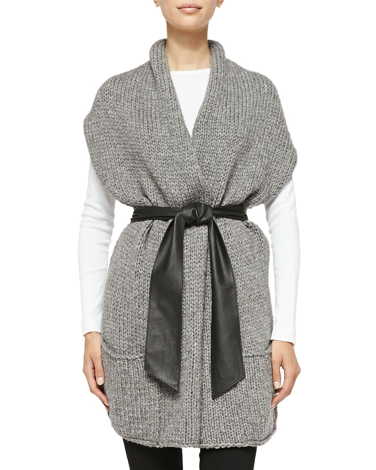 Short-Sleeve Cardigan W/ Faux Leather Belt, Silver - Christopher ...