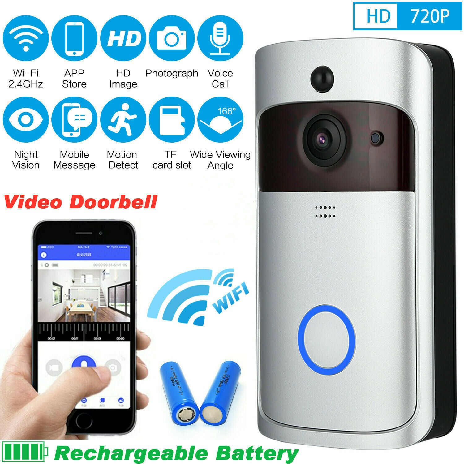 Turklingel Mit Kamera Hd Wlan Nachtsicht Video Funkklingel Funk Ring Doorbell Kamera Ideas Of Kamera Kamera Store Image Wifi Phone