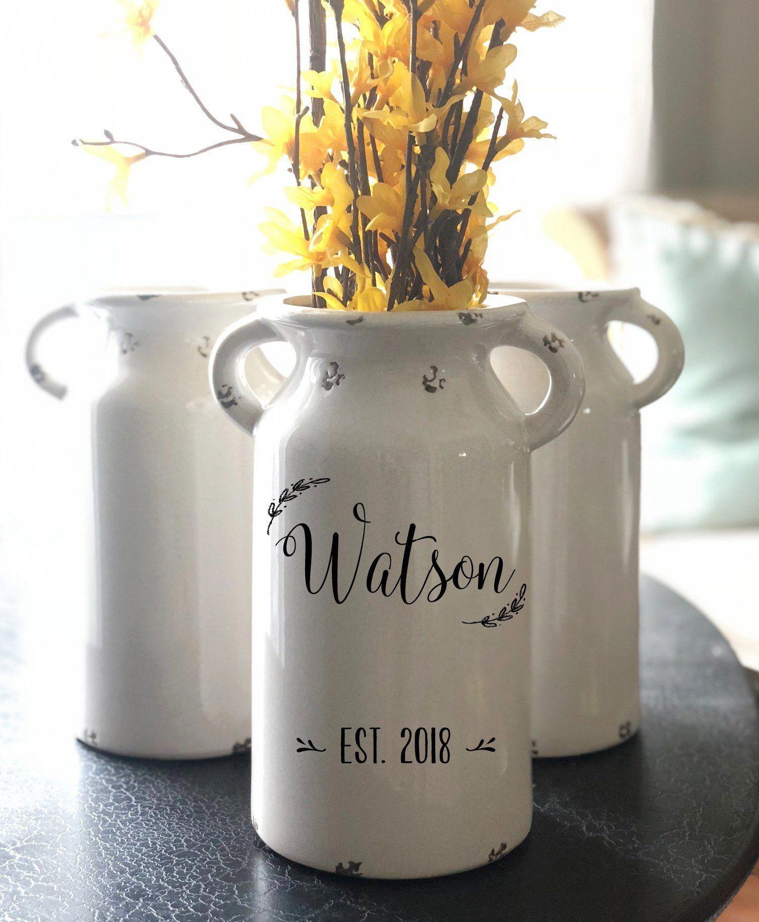 Personalized milk jug vase farmhouse decor, rustic decor