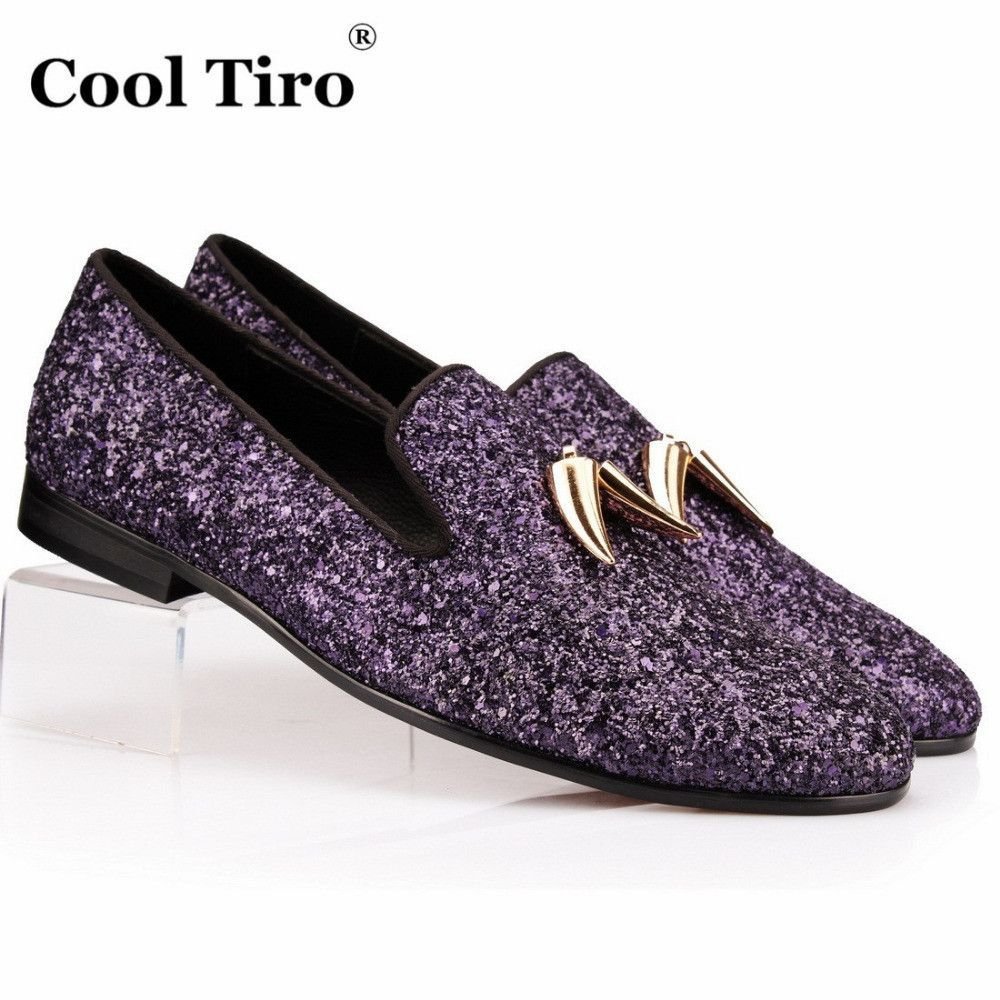 a3ea4d09d7a Purple Glistening Glitter Men Loafers Slippers Slip-on Shoes Shark Tooth  Tassel