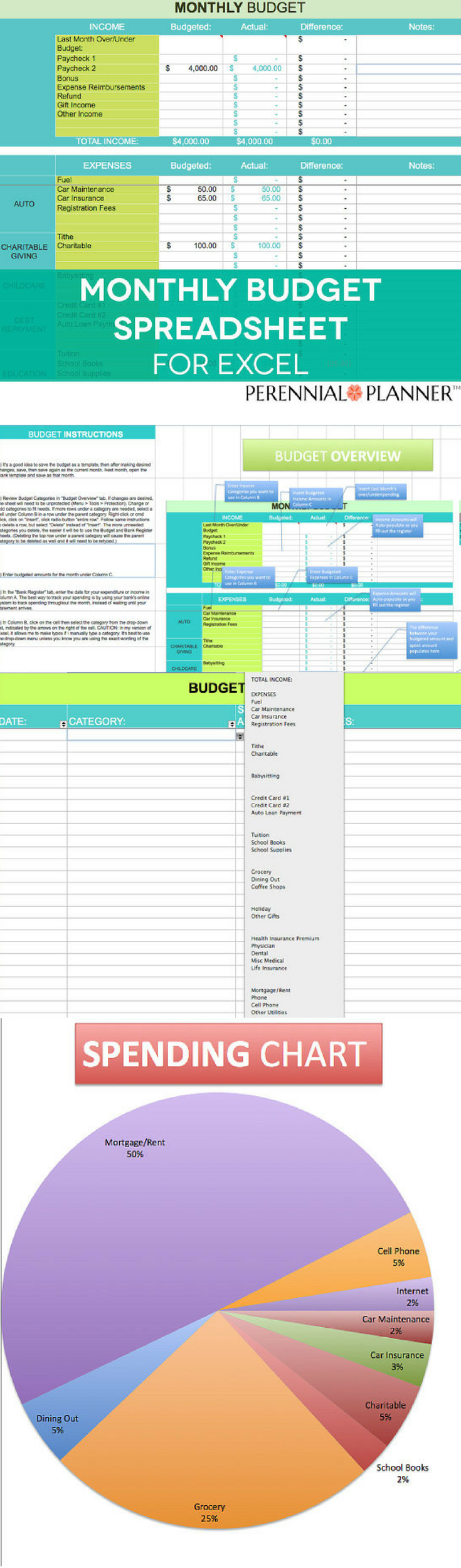 Monthly Budget Spreadsheet, Household Money Tracker, Microsoft Excel ...