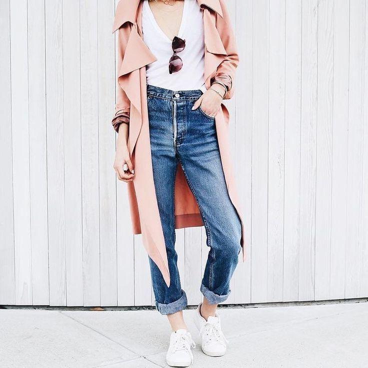 white shoes blue jeans