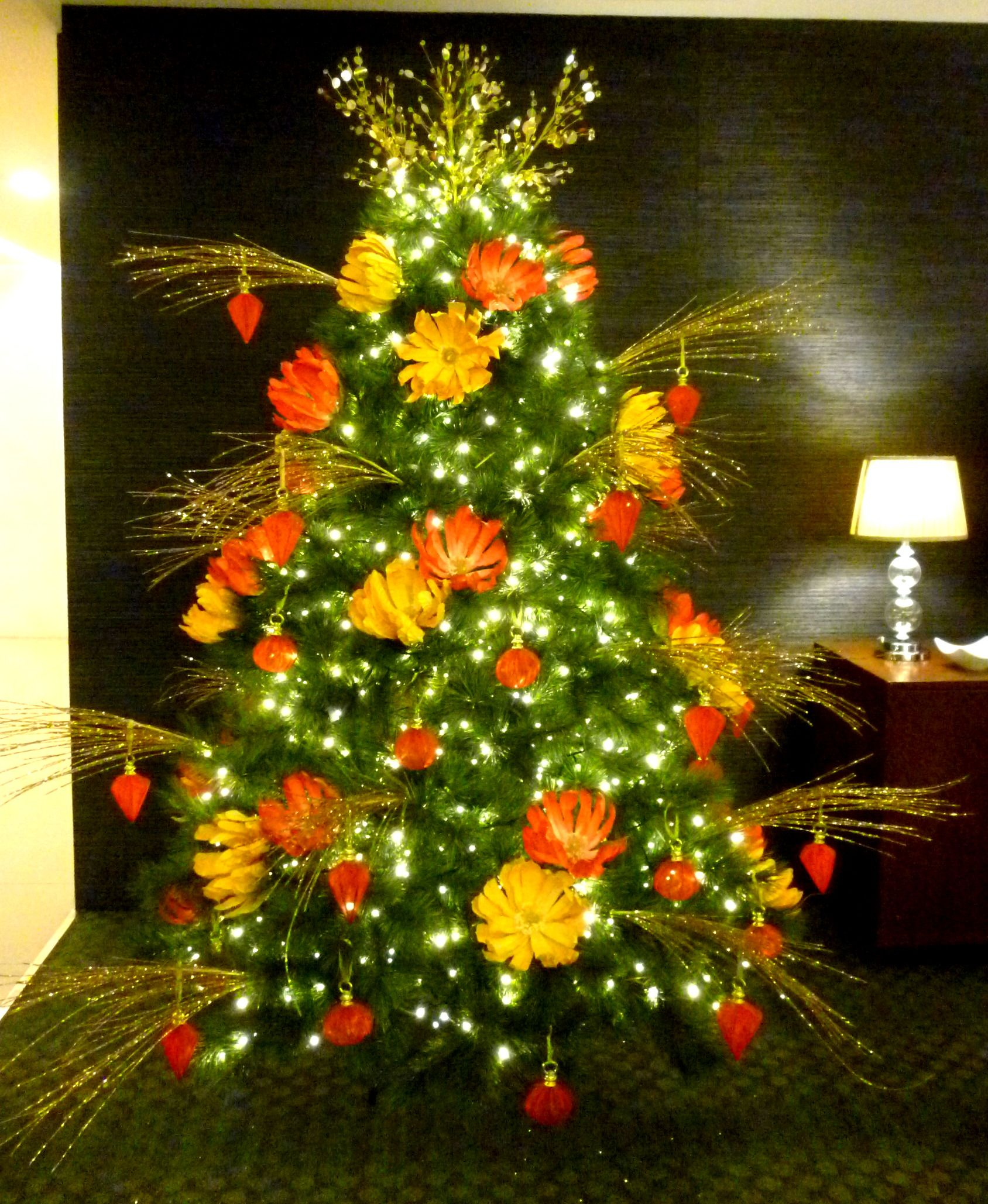 Chinese Christmas.Oriental Inspired Christmas Tree With Red And Gold Handmade