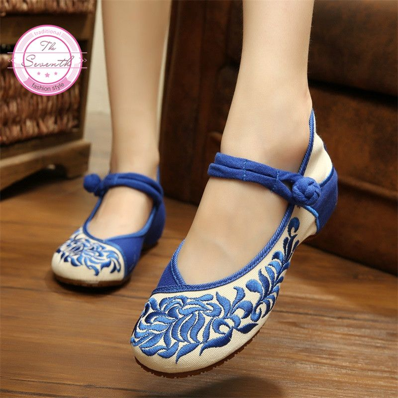 Aliexpresscom  Buy China Old Peking Embroidery Women Casual Shoes Mary  Janes Flats Size