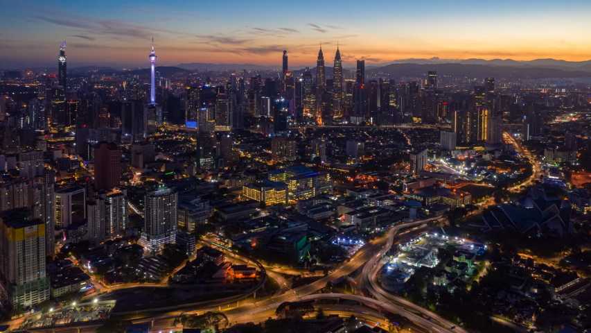Time Lapse Aerial City View Stock Footage Video 100 Royalty Free 1046290177 In 2020 City View Aerial Kuala Lumpur City
