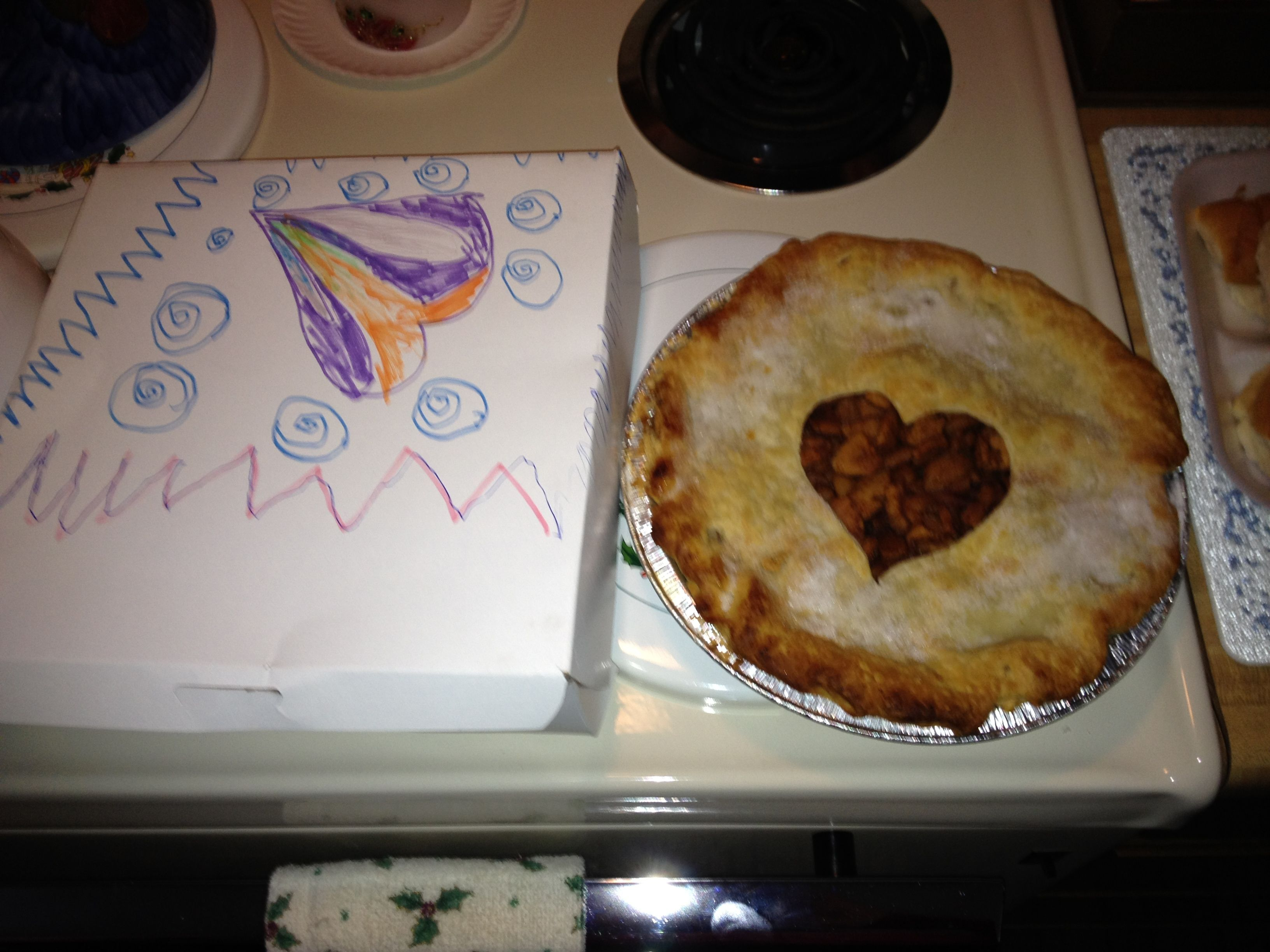 This was a pie made by the girl scouts for Thanksgiving but I love the idea of the decorated box with the heart