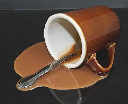 coffee mug spilled fake