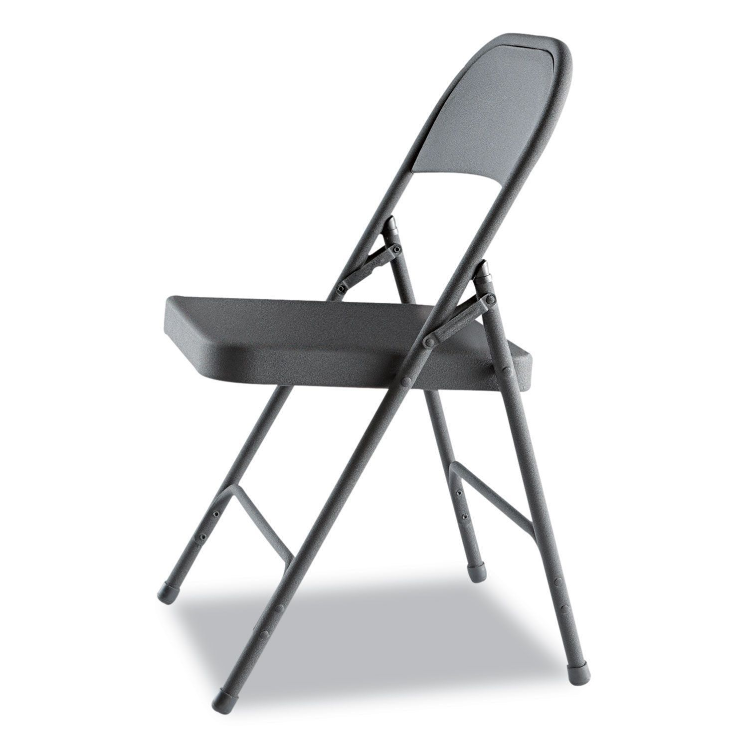 Alera Graphite Steel Folding Chairs Set Of 4 Graphite Gray In