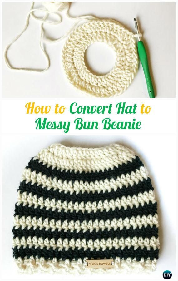 How to Convert Hat to Messy Bun Beanie Tutorial -Crochet Ponytail ...