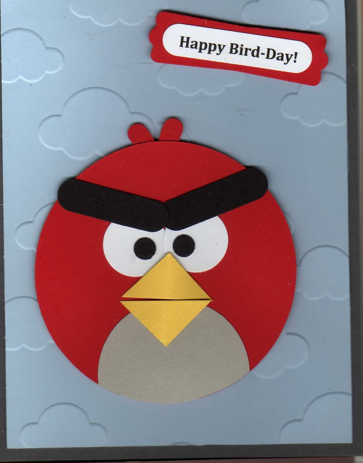 Angry Birds Card Paper Plate Crafts Punch Art Cards Kids Birthday Cards