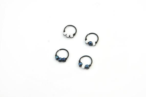Black Cartilage Hoop Iridescent Black Nose Ring Helix Piercing Ring Black Earrings Beaded Cartilage #nosering