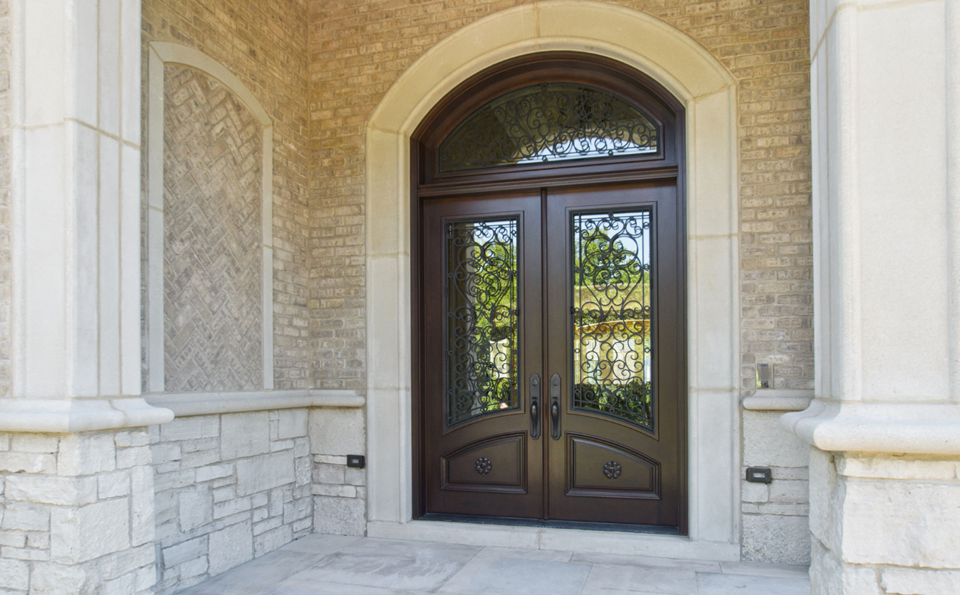 Custom Solid Mahogany Wood Double Door With Transom Walnut