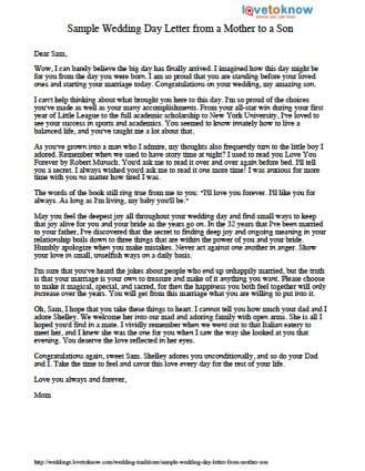 Sample Wedding Day Letter From A Mother To A Son Wedding Day