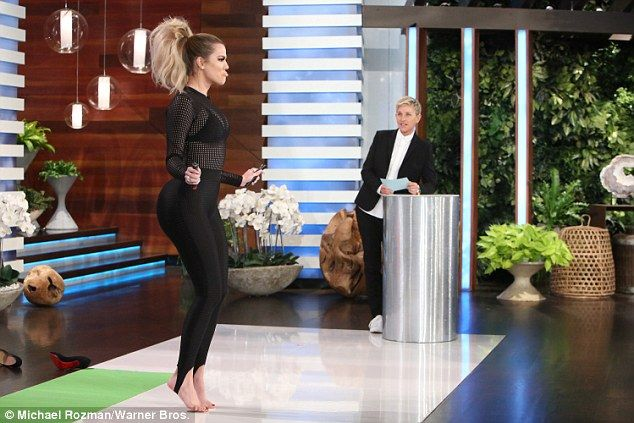 Good sport: The Keeping Up With The Kardashians star told Ellen about her Tuesday plans: '...