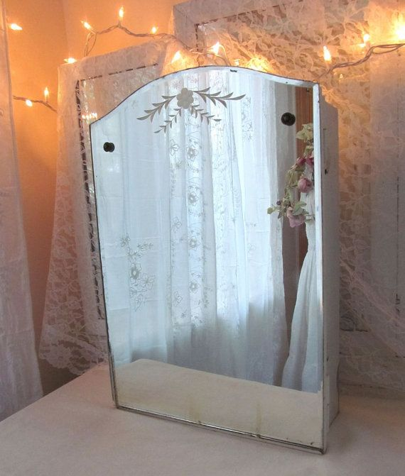 Vintage Medicine Cabinet with MIrror - Beveled, Etched, Rosettes - Shabby  Cottage Beauty - Vintage Medicine Cabinet With MIrror - Beveled, Etched, Rosettes
