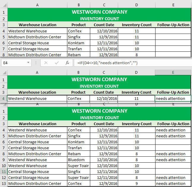 excel warehouse locations