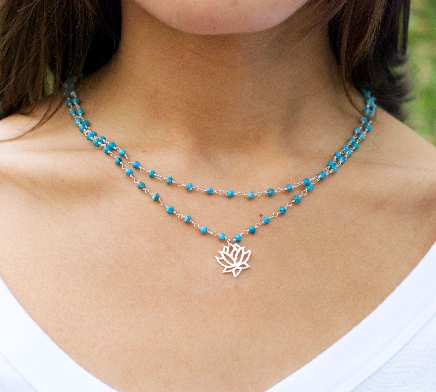 Shown in sterling silver with turquoise. Layered charm necklace with hand stamped initial and birthstone