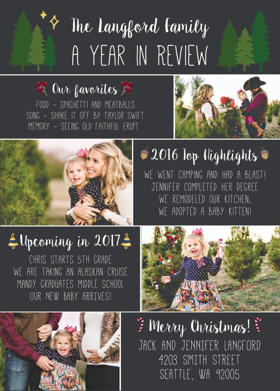 Year In Review Christmas Card Template 5x7 By Posyprintsdesign Christmas Card Photoshop Christmas Card Template Christmas Lettering