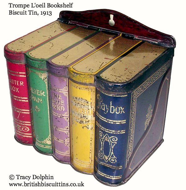 Trompe L'oeil Bookshelf Biscuit Tin, 1913.  Photo © Tracy Dolphin