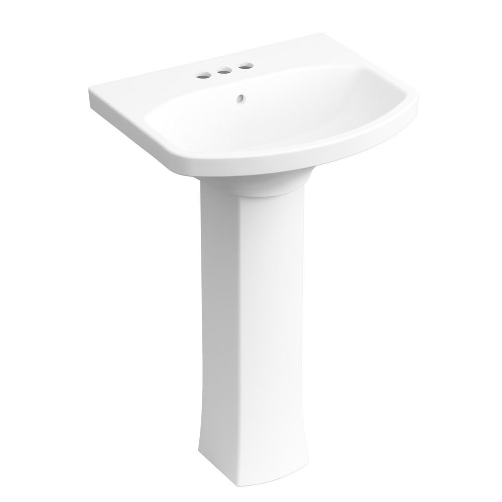 Kohler Elmbrook 24 In Pedestal Sink Basin In White W 4 In