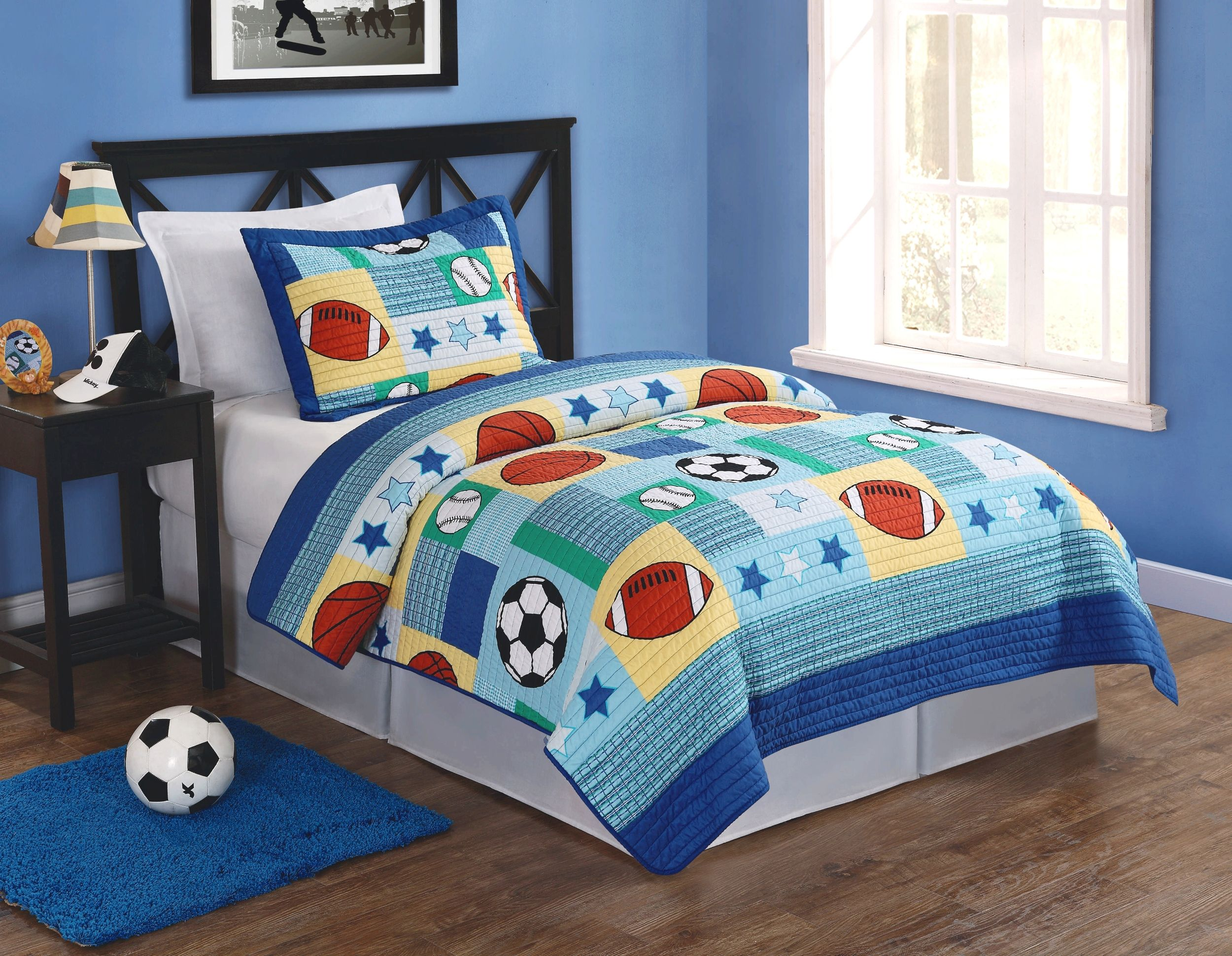 Cute Sports themed quilt for a young lad - My World Sports Multi ... : sports themed quilts - Adamdwight.com