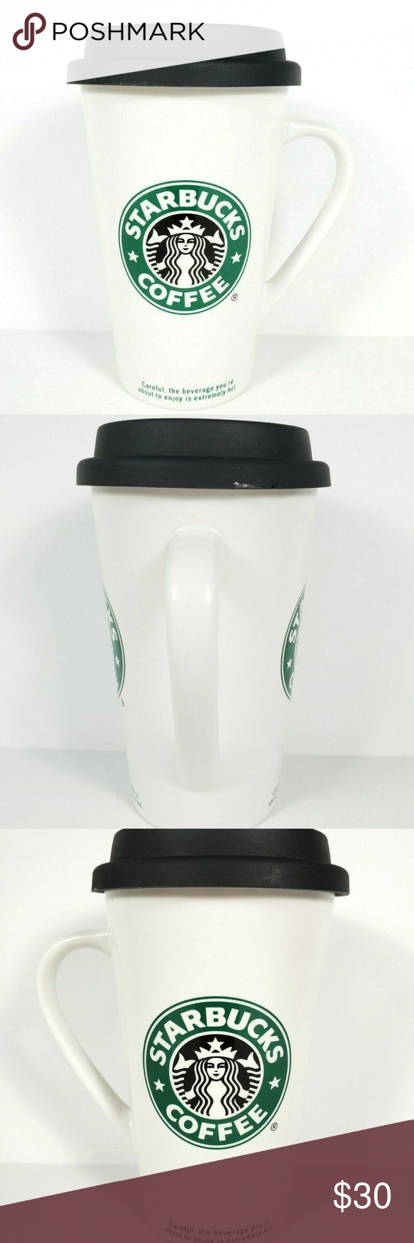Starbucks Ceramic To Go Cup Mug 2006 Handle Lid in 2020