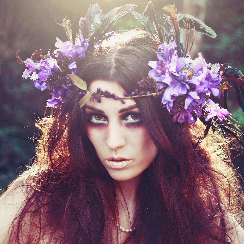 Lavender Flower Hair Wedding Style: Lilac Purple Garland Hair Wreath