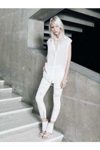 IRO White Sleeveless Blouse with Embellished Back