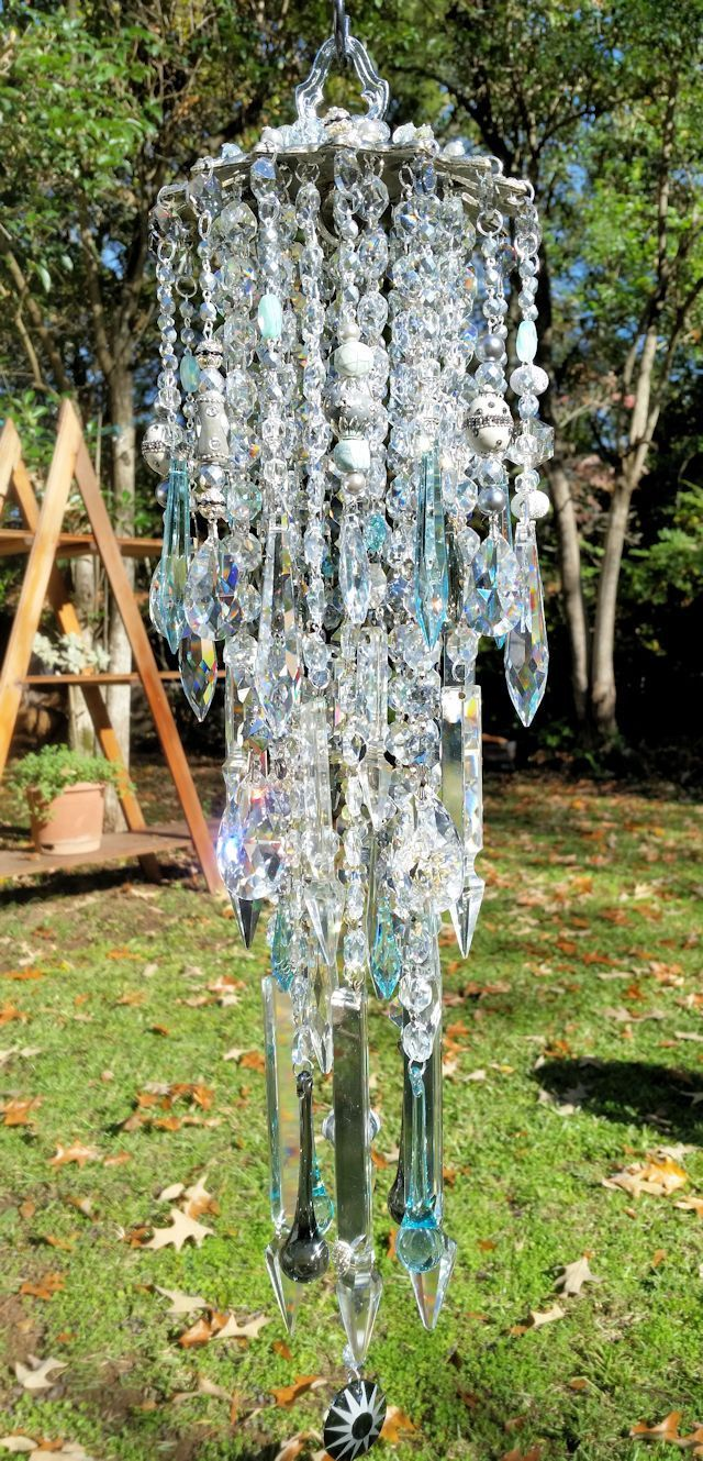 Crystal Wind Chime, Silver and Aqua Wind Chime, Antique Crystal ...