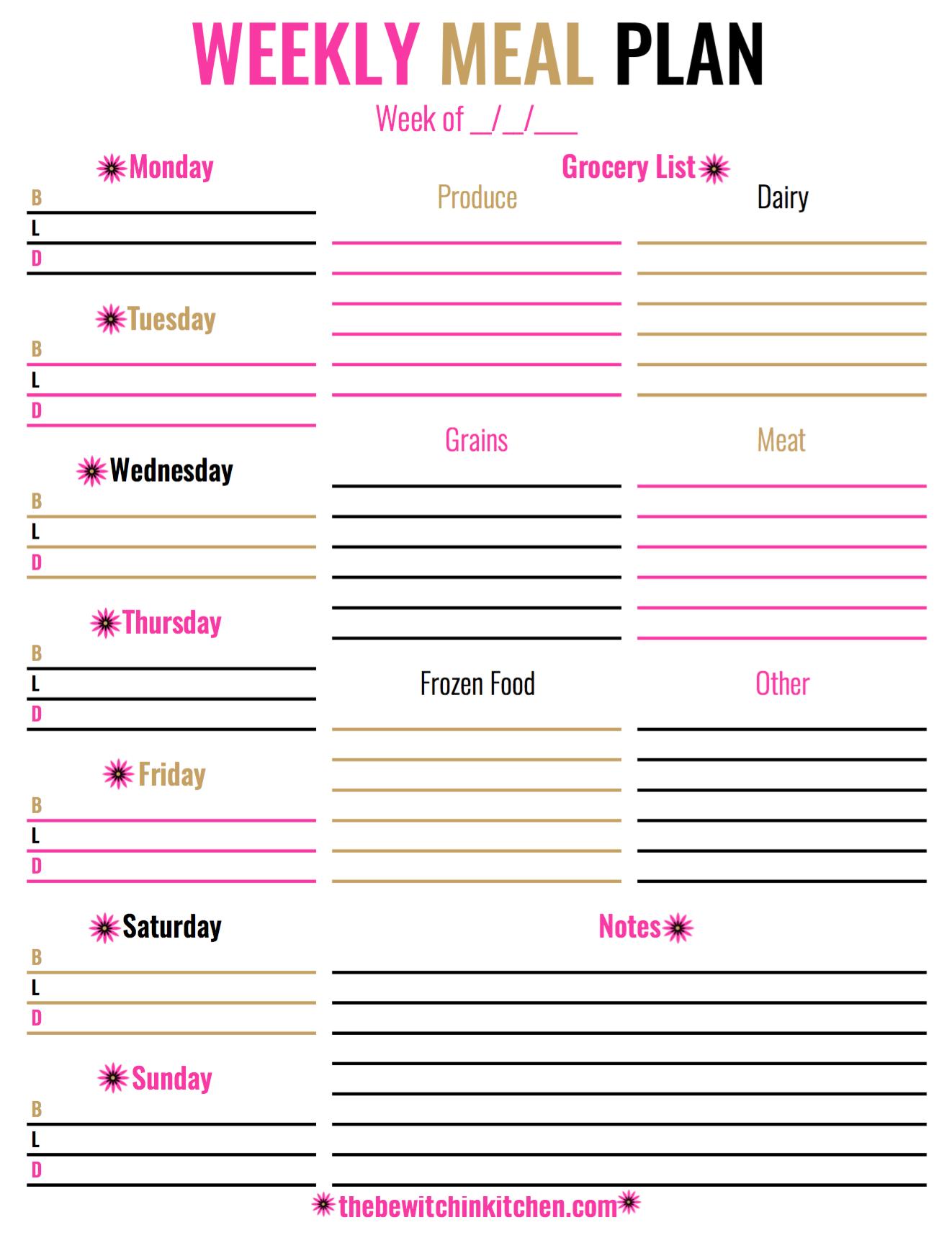 Meal Planning Worksheet Mealplanningworksheet