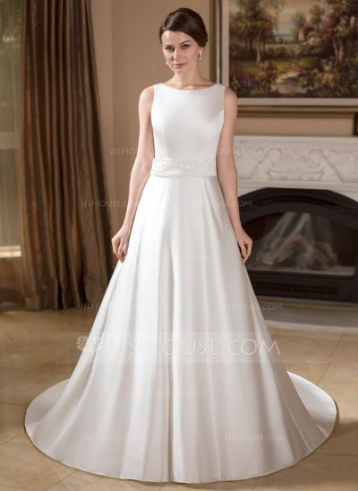 A-Line/Princess Scoop Neck Chapel Train Satin Wedding Dress With ...