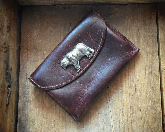 Vintage Men's leather belt loop wallet with silver tone bear, belt wallet, leather belt bag, belt pouch, waist pack, car key waist wallet