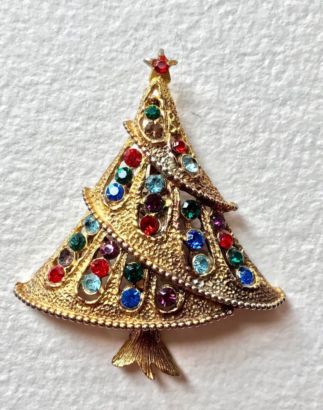 63f4e67a5 Vintage Rare JJ Jonette Signed Christmas Tree Pin BOOK PIECE Holiday Brooch  Gold Tone Multi Rhinestones Women's Estate Costume Jewelry by  VintagePolice4U on ...