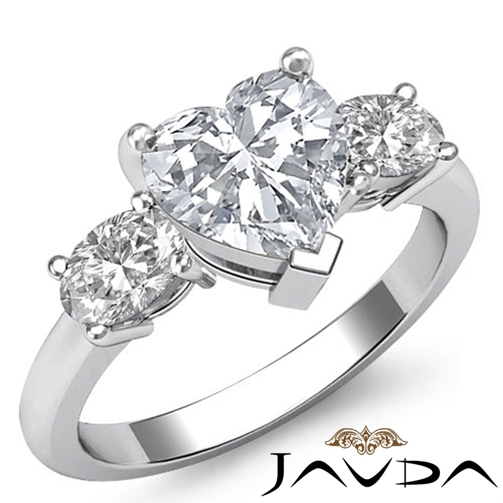 Heart Cut Diamond 3 Stone Gorgeous Engagement Ring Egl E Si1 Platinum 950 1  5 Ct