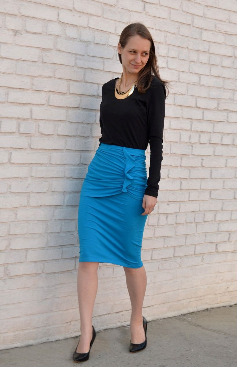 Pull off a bold blue skirt with black. [http://elegantees.com/products/bethsaida-in-blue]