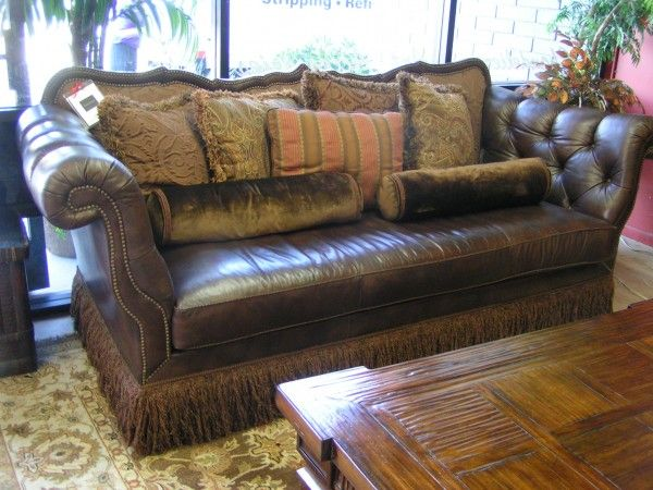 Robb Stucky Tufted Leather Nailhead Sofa