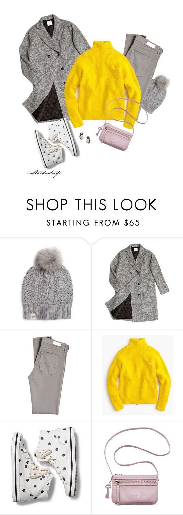 """""""Lemon Meringue Pie"""" by stardustnf ❤ liked on Polyvore featuring UGG Australia, ssongbyssong, AG Adriano Goldschmied, J.Crew, Keds, FOSSIL, women's clothing, women's fashion, women and female"""