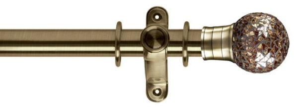 G2 Galleria 50mm Mozaic Gold Ball Burnished Brass Curtain Pole