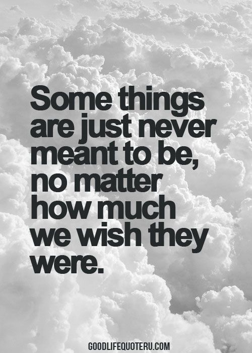 Some Things Are Just Never Meant To Be No Matter How Much We Wish
