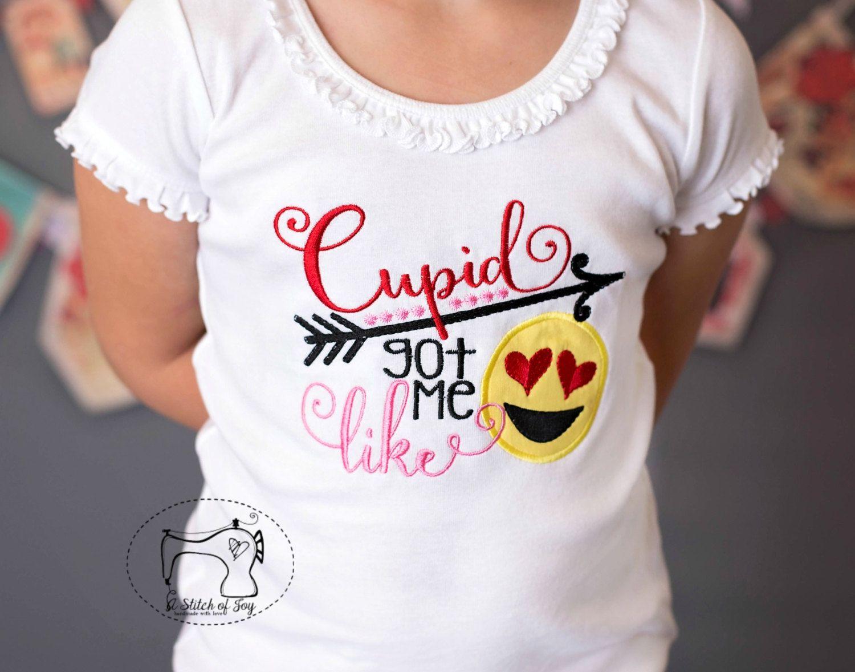 Girls Valentine Day Shirt Or Bodysuit Cupid Got Me Like Emoji