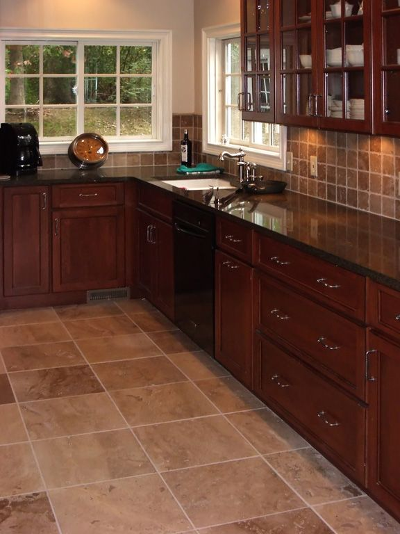 Cherry Cabinet Kitchen Designs 20 traditional dark wood cherry kitchen Kitchens Matching Travertine Kitchen Floor And Backsplash And Cherry Kitchen Cabinets With Black Slate Flooring