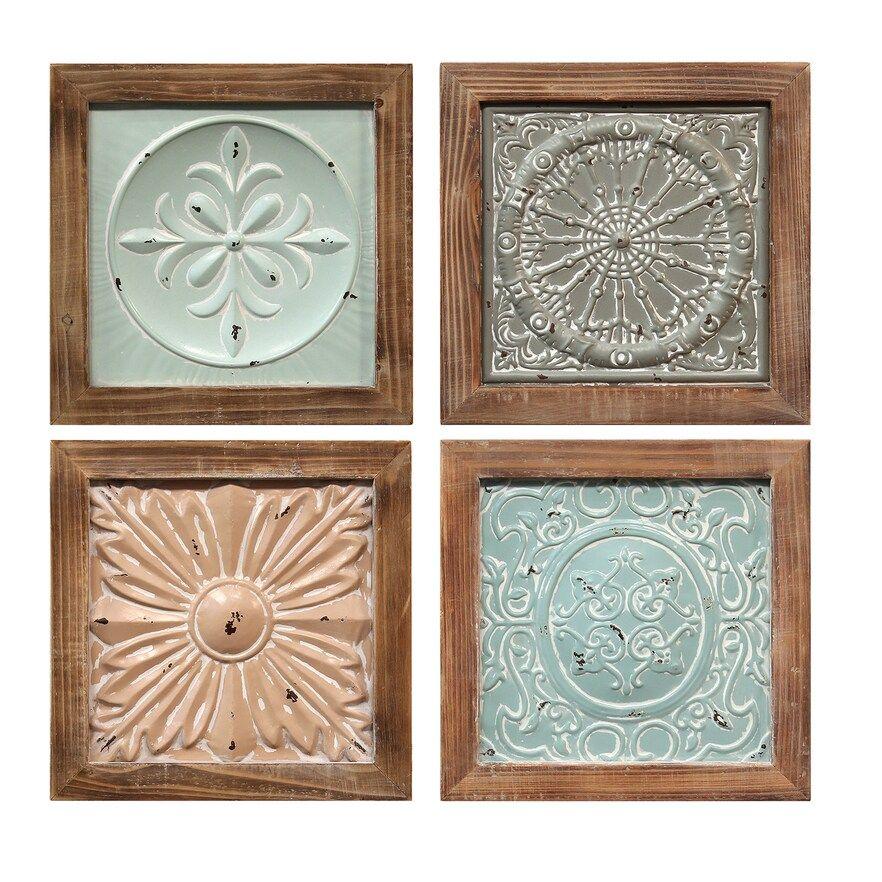 Stratton Home Decor Set Of 4 Boho Tiles Wall Decor Boho Decor