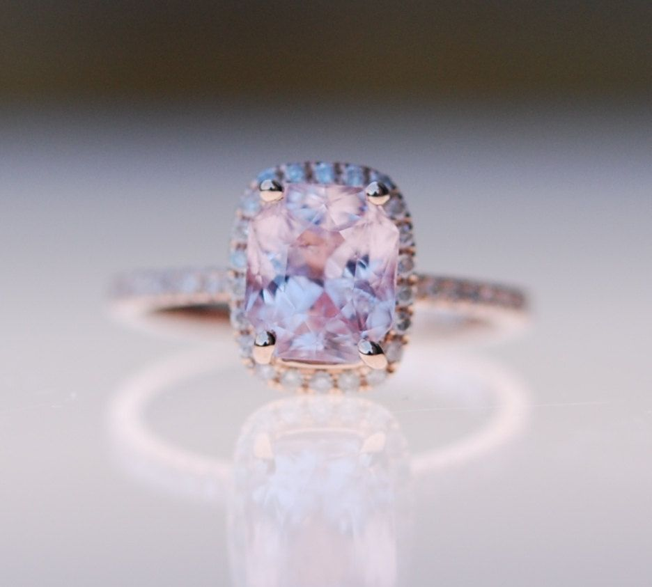 Champagne sapphire engagement ring k rose gold by eidelprecious