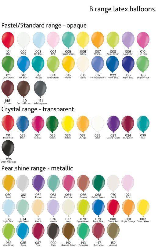 B Range Latex Balloon Colour Chart Balloons Colors Mixes