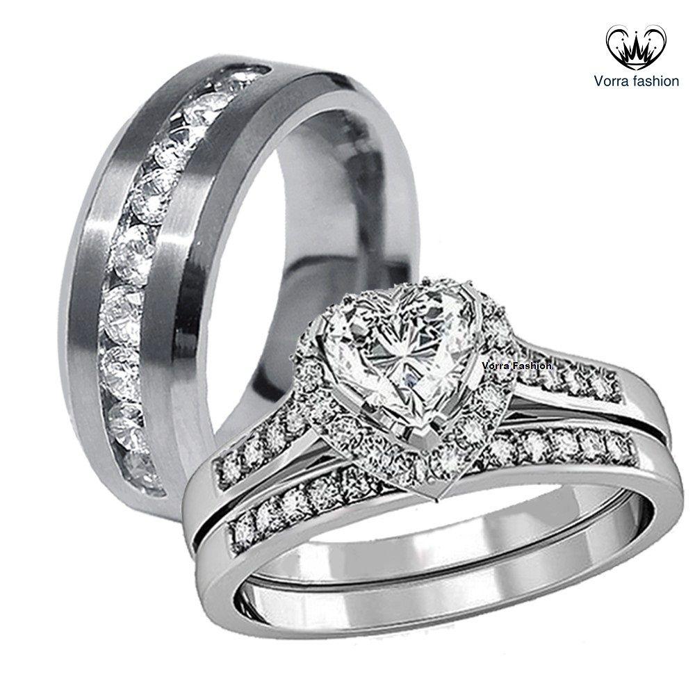 14k White Gold Over 925 Silver Heart Shape Diamond His Her