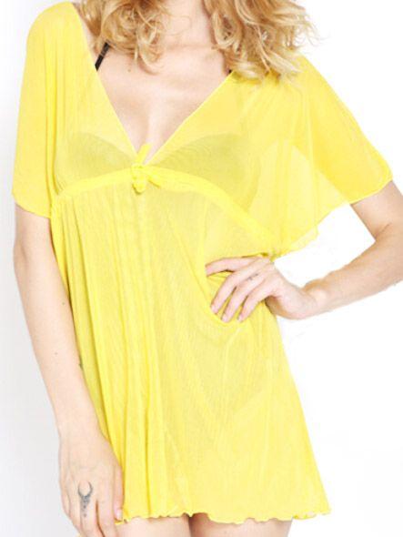 Lemon Yellow V Neck Mini Cover Ups