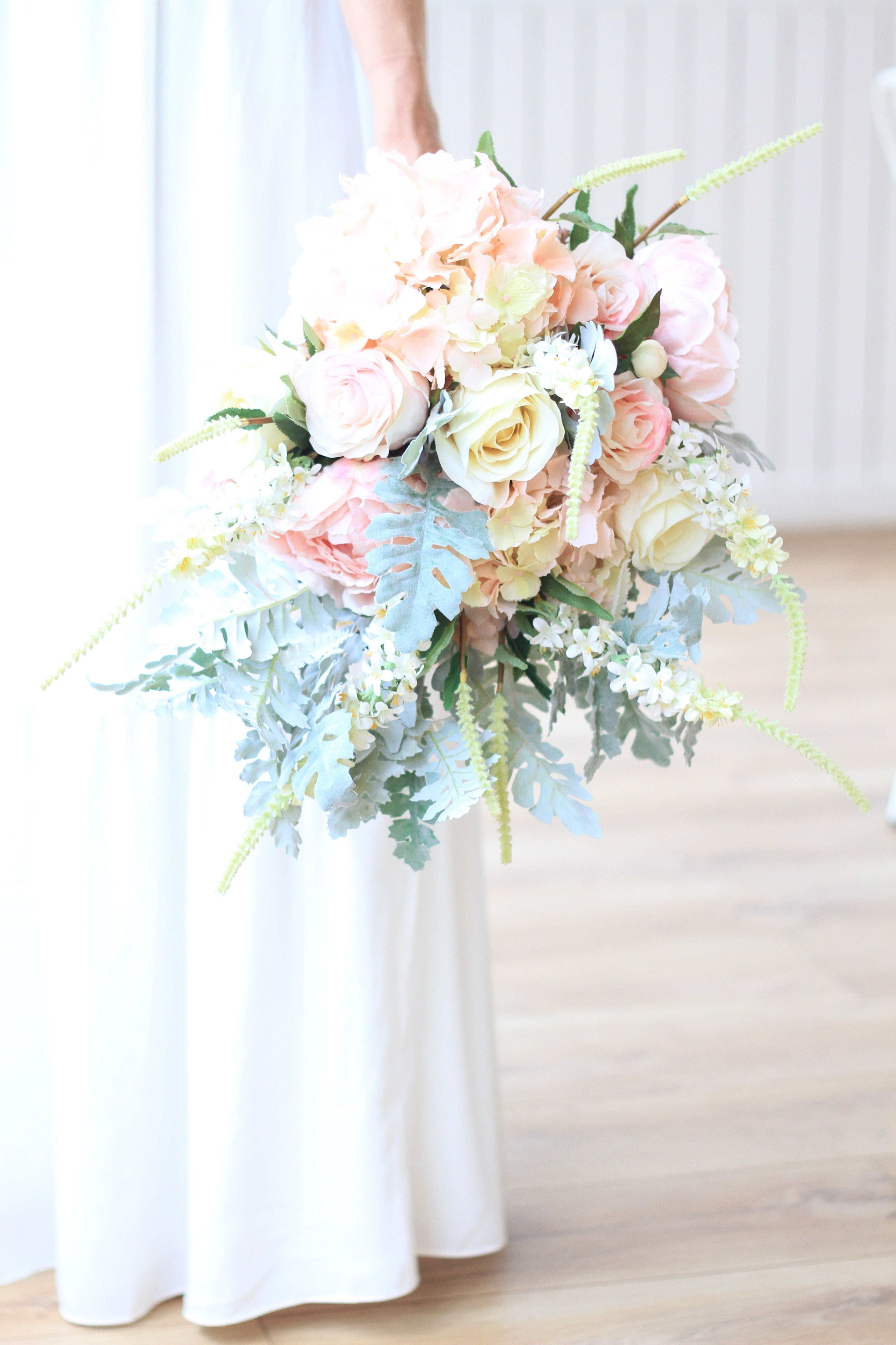 Stunning pink and white faux bridal bouquet. Luxury